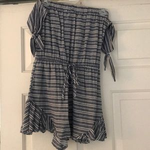 White and blue striped off the shoulder romper